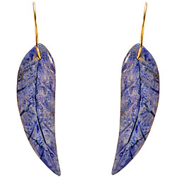 10k Yellow Gold Sodalite Leaf Earrings