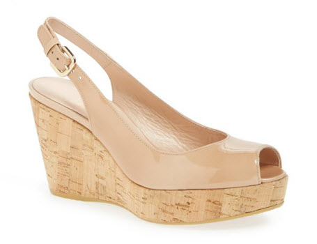 nude wedge shoes, patent nude wedges, women's nude wedge