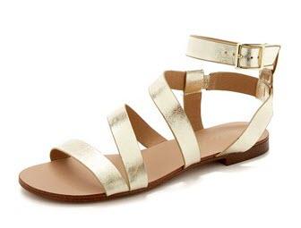 gold flat sandals, flat gold sandals, women's gold sandals, gold strappy sandals