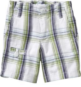 Clean-Front Plaid Shorts for Baby
