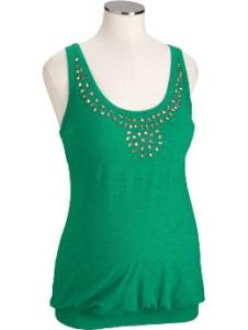 Maternity Faux-Gem Slub-Knit Tank