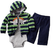 Carter's Boys Fleece 'Dino' Cardigan Set 3 Piece - Navy and Green Stripe (6 Months)