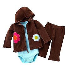 Carter's Girls 3 Piece Velour Cardigan Set - Brown and Aqua