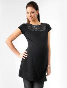 Loved By Heidi Klum Short Sleeve Crew Neck Decorative Trim Maternity Tunic