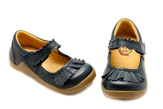 Livie and Luca Ruche Navy Baby Shoes