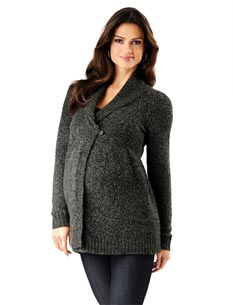 Loved By Heidi Klum Long Sleeve Shawl Collar Maternity Cardigan