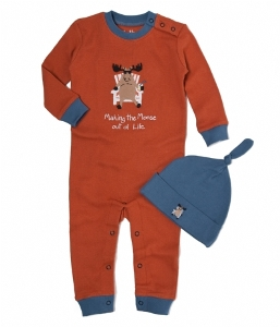 Hatley Making the Moose Out of Life Coverall and Knot Cap