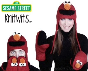 Sesame Street Elmo Knitwits Hat and Mittens