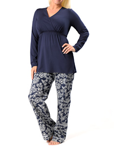Long Sleeve V-neck Inside Print Detail Nursing 2 Piece Set