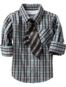 Shirt and Tie for Baby Teal