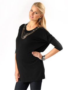Lavish By Heidi Klum Long Sleeve Boat Neck Necklace Trim Maternity Tunic