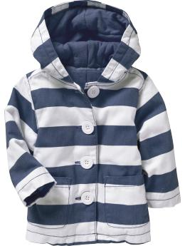 Bold-Stripe Hooded Coat for Baby