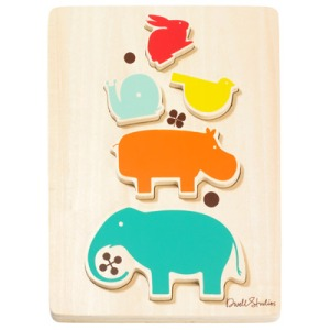 DwellStudio Kids Wooden Puzzle Stacked Animals