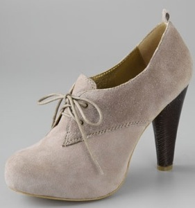 Suede Heeled Oxfords