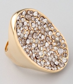 Crystal Encrusted Gold Pool Ring