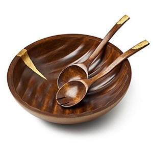 Gold Leaf Wood 3 Piece Salad Set