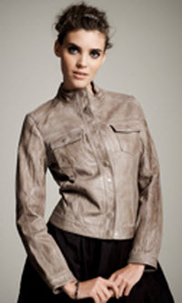 Kinder Aggugini for Macy's Taupe Leather Jacket