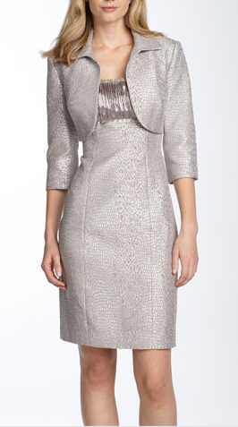 Adrianna Papell Metallic Brocade Sheath Dress & Bolero