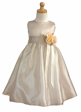 Champagne Satin Party Dress w/Free Hair Wreath