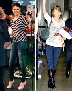 Taylor Swift & Selena Gomez Rocking Their AE Jeggings