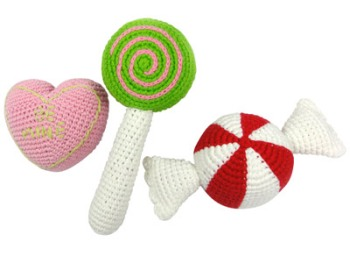 Yellow Label Kids Knitted Candy Rattle Set