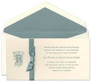 Crane Peacock Bow Invitation