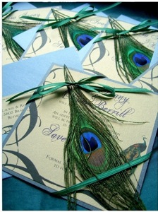 Lisa Vintage Style Peacock Invitations