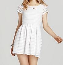 Aqua Capsleeve Eyelet Jersey Dress