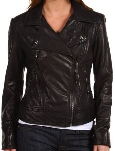 Perhaps the most Barrymore-esque, this Miss Sixty Black Faux Leather Studded Zip Moto Jacket ($84), with its studded collar, has just the right amount of