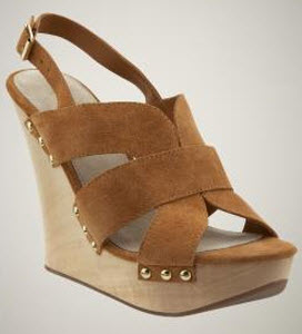 Suede Wide Strap Wedge Sandals