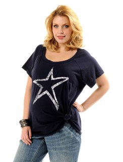 Loved By Heidi Klum Plus Size Short Sleeve Scoop Neck Tie Detail Maternity T Shirt