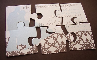 Unique wedding invitations puzzle wedding invitation ticket stub puzzles passports and more clever invitation designs that are anything but square maxwellsz