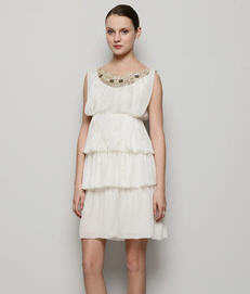 Alberta Ferretti Silk Georgette Embellished Tiered Dress