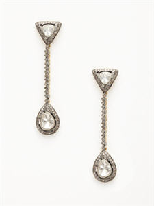 Blake Scott Diamond Triangle & Pear Drop Earrings