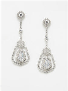 CZ by Kenneth Jay Lane Deco Bell Dangle Earrings
