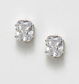 CZ by Kenneth Jay Lane Oval Cushion Stud Earrings