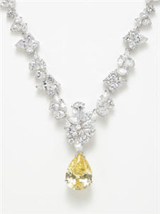 CZ by Kenneth Jay Lane Zirconia Cluster & Canary Teardrop Necklace
