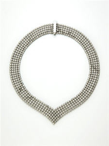 "Color Story White Topaz Mesh ""V"" Necklace"