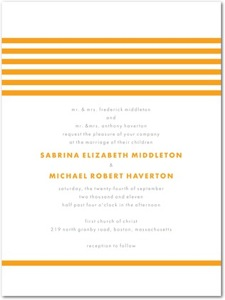 Modern Stripes Orange Letter Press Invitation