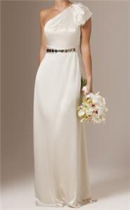 One Shoulder Embellished Wedding Dress