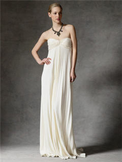 Reem Acra Silk Satin Back Crepe Pleated Strapless Gown