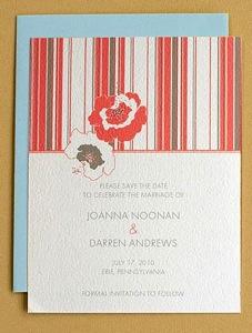 Chic Letterpress Poppy Stripe Invitation