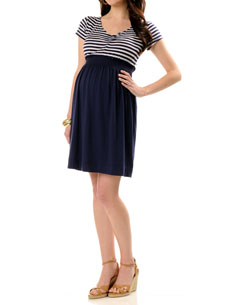 Short Sleeve Bow Detail Maternity Dress