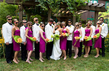 Real Wedding Ideas | Neon Sunglasses | Fun Guest Favors