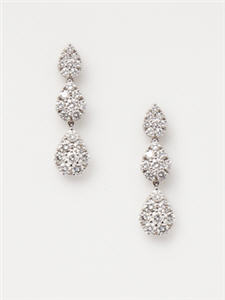 Vendoro Diamond Triple Teardrop Earrings