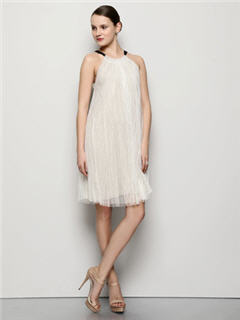 Vera Wang Tulle Pleated Contrast Strap Dress