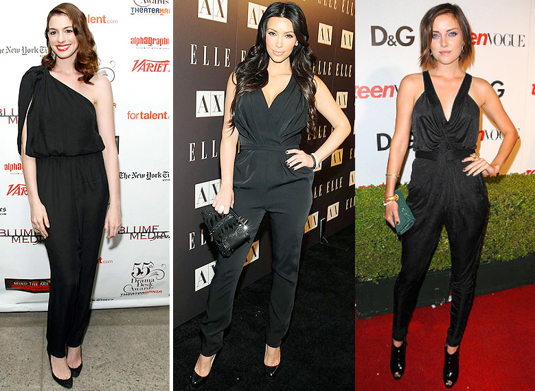 Celebrities in their black jumpsuits