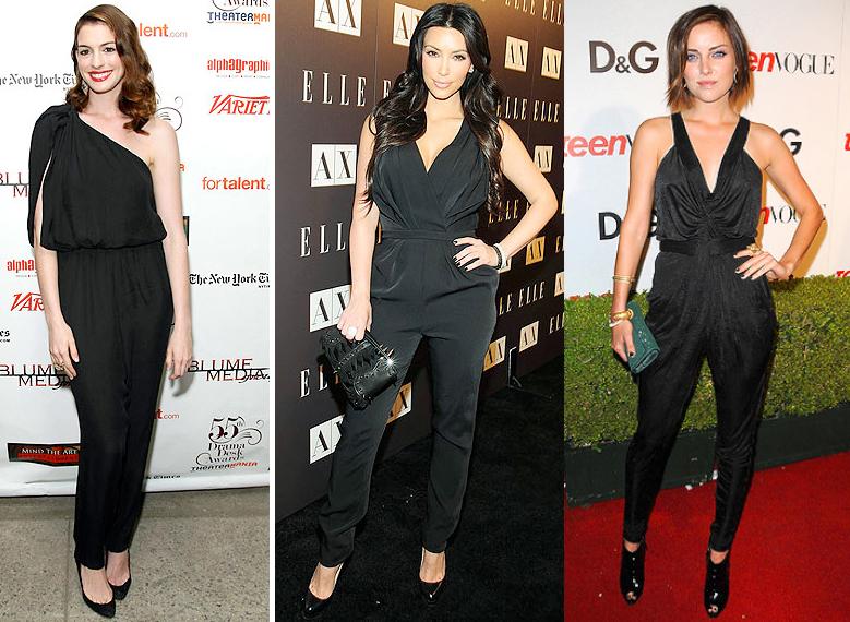 Celebrities in their black jumpsuits
