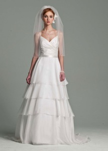 David's Bridal Satin and Organza Tiered Gown