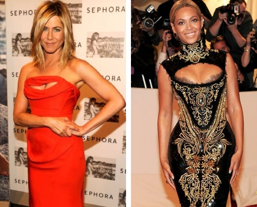 Jennifer Aniston Beyonce Peek-a-Boo Dresses